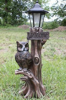 "Owl Statue Sculpture Solar Lantern Welcome Sign 15"" Welcome Statue New"