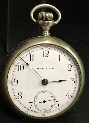 ANTIQUE SETH THOMAS WIND UP NICKEL POCKET WATCH SIZE 18 in RUNNING CONDITION