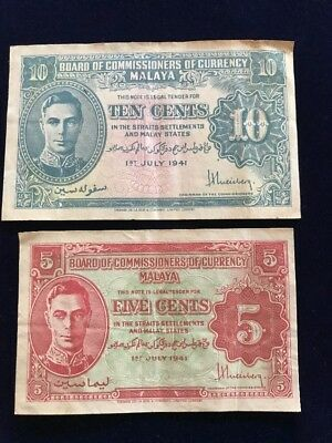 Paper Currency Banknotes 1941 Board Of Commissioners Of Currency Malaya