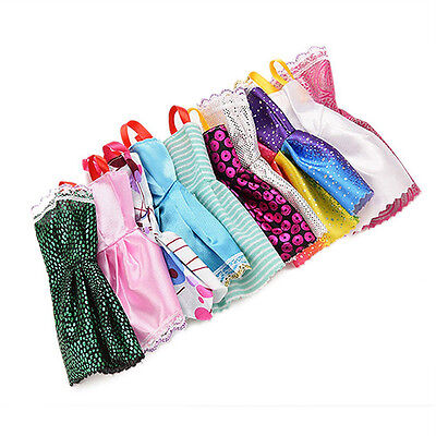 10Pcs/Lot Mixed Color Toy Clothes Tutu Princess Dresses for Barbie Doll ee58