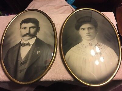 Antique Vintage Husband & Wife pictures large oval tin back bubble glass frames
