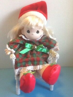 Vintage Precious Moments Christmas Plush Girl Doll w/Santa Hat/Dress/Shoes - EUC
