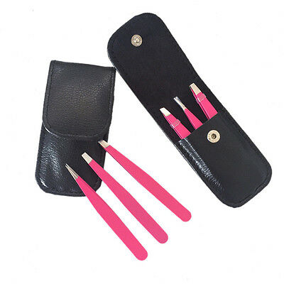 3pcs/set Beauty Eyebrow Hair Tweezers Slanted Straight Pointy Hot Sale@