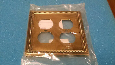 Gang Decorative Double Duplex Outlet Wall Cover Plate with Screw Antique Brass