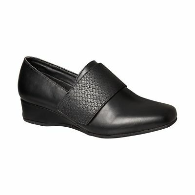 Grosby Riley Black Closed Toe Womens Flat Work Casual Shoes Comfort Wedges Flats