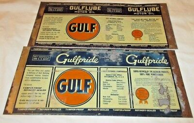 2 Gulf Oil Unrolled Oil Cans, 1 Qt, Gulf Pride   Mid Century