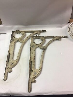 Set of two large antique cast iron shelf brackets. 15 1/2 X 11 Inches