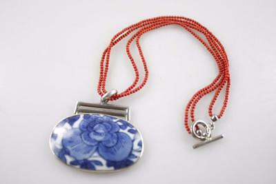 Vintage Chinese 925 Silver Antique Blue White Ceramic Coral Necklace