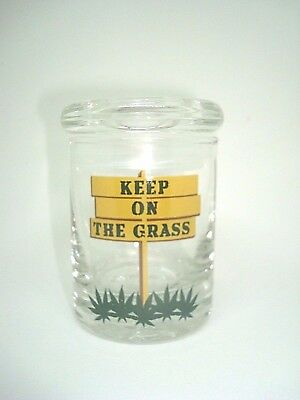 "Glass Stash Herb Jar w/ Air Tight Seal Lid - ""Keep on the Grass"""
