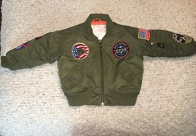 Vintage Business Innovations Military Aviator Bomber Jacket Green, Orange XS/ S