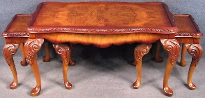 Queen Anne Style Carved Burr Walnut Nest Of 3 Coffee / Occasional Tables