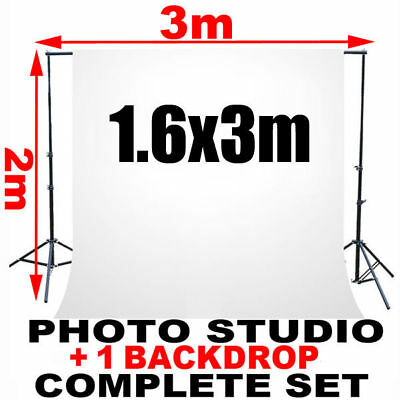 White Backdrop Stand Kit+3x800W Redhead Continuous Lighting Light Photography AU