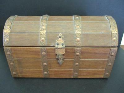 ANTIQUE SMALL WOODEN BOX CHEST TRUNK BRASS DETAIL LINED SOLID WOOD 23cm WIDE