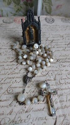 DIVINE ANTIQUE FRENCH MOTHER OF PEARL ROSARY & MINIATURE TRAVELLING ICON c1890