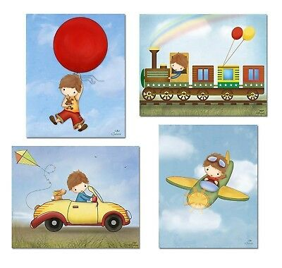 Baby Boy Nursery Wall Decor Room Art Prints Pictures for Brothers Bedroom Ill...