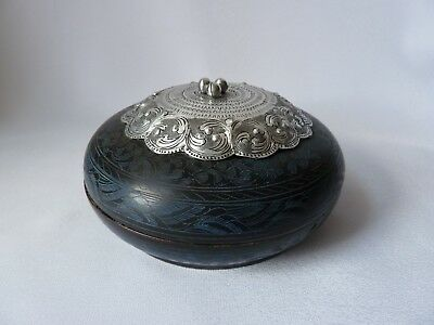 Antique Oriental Lacquer Trinket Box with White Metal Top and Finial, h8cm