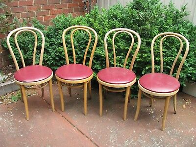 Vintage Mid Century Thonet Bentwood padded Chairs x 4 Made In Melbourne