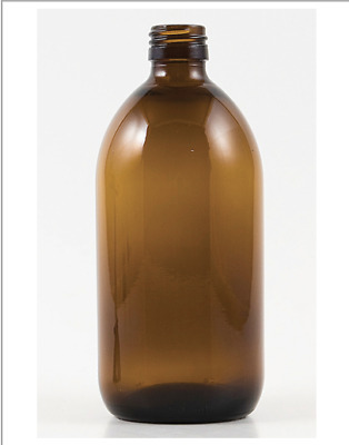 GLASS AMBER BOTTLES 500ml x 1 pallet (QTY1000 WITH WHITE LIDS)