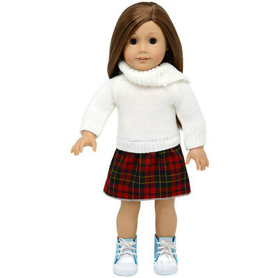 Checked Sweater Skirt Clothes for 18'' American Girl Doll Dress Top MagiDeal