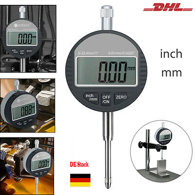 "Digitale Messuhr  0.01/0.0005"" mm/inch Ablesung Dial indicator Dicken Messgerät"