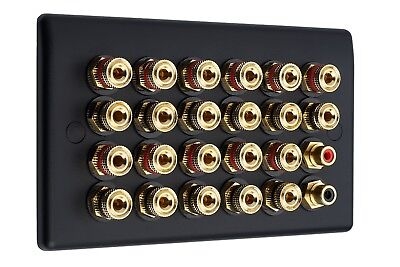 Matt Black 11.2 Audio AV Speaker Plate Gold 22 Binding Posts + 2 RCA NON SOLDER
