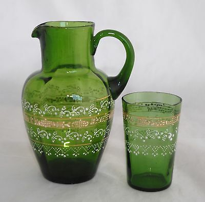 Green MARY GREGORY Hand Blown Jug and Tumbler Set - Dots/Scrolls Ground Pontil