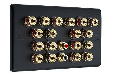 Matt Black 9.2 Audio AV Speaker Plate Gold 18 Binding Posts + 2 RCA NON SOLDER