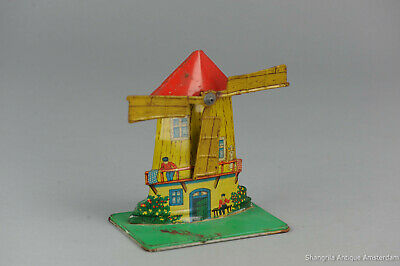 #Antique Tin Toy# US ZOne Germany Wind Mill For Steam Engine  Dutch Windmill toy