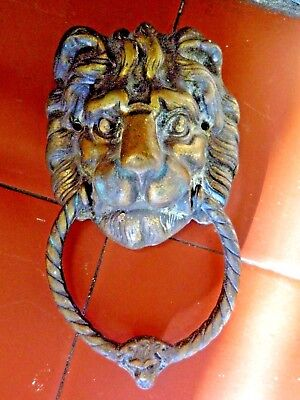 Vintage Brass Lion Head Door Knocker Architectural Antique Old Great Condition