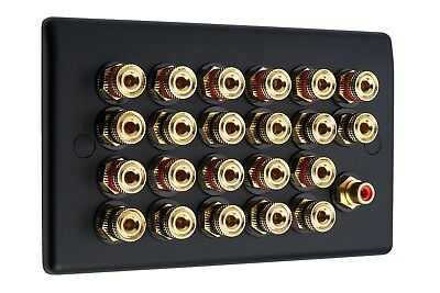 Matt Black 11.1 Audio AV Speaker Plate Gold 22 Binding Posts + 1 RCA NON SOLDER
