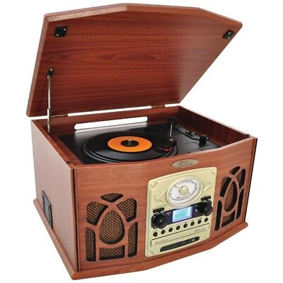Bluetooth Retro Vintage Turntable Record Player with Vinyl-to-MP3 Recording
