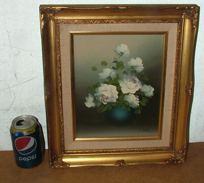Original Flower Roses Still Life Oil Painting On Canvas In Gilt Frame By J Watts
