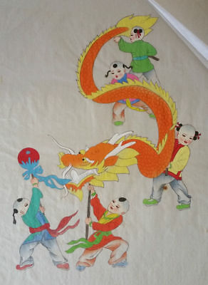 Chinese Authentic Vintage Hand Painted Silk Painting Dragon c1920