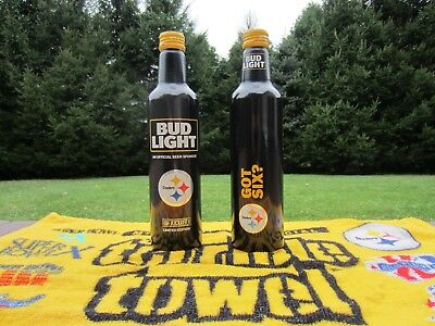 🏈 TWO Pittsburgh Steelers 2017 NFL Kickoff Bud Light Aluminum Beer Bottles Cans