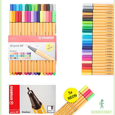 30 x STABILO POINT 88 Fineliner point88 F (fein): 25 Farben plus 5x Neon