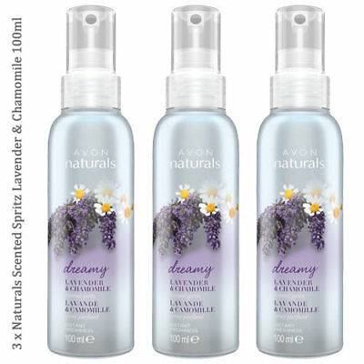 3 x Avon Naturals Lavender & Chamomile Scented Spritz // Room Mist Spray 100ml