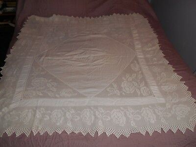 Vintage Square Tablecloth,  Lace Crochet Insert Decoration 58 X 58 Inches