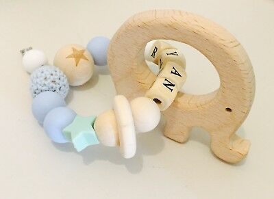 Personalised Baby Gift Teething Toy Ring Bracelet Beads Wooden Organic Silicone