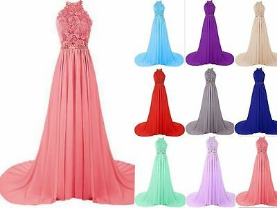 Long Prom Dresses New Bridesmaid Party Formal Gown Evening Chiffon Size 6-18