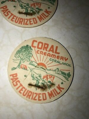 One Coral Creamery Milk Bottle Cap Coral Michigan 1950's Never Used