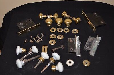 LARGE Lot Antique Vintage Solid Brass,Milkglass,Porcelain Door Knobs mortice set
