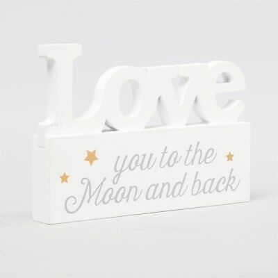 NEW Love You To The Moon And Back Standing Decoration Stars Wood Ornament White