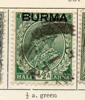 Burma 1937 Early Issue Fine Used 1/2. Optd 207588