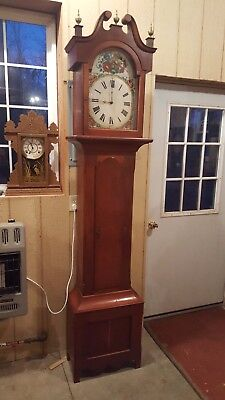 Antique Tall Case / Grandfather Clock c. 1825 Cherry Case w/ Rare 8-Day Wag Mvmt
