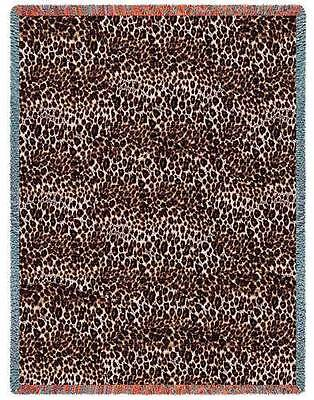 "CHEETAH ""SKIN"" PRINT CAT LEOPARD TAPESTRY AFGHAN THROW BLANKET USA MADE! 53 x 70"