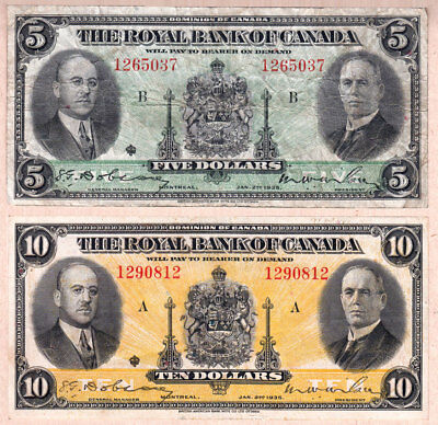 NO RESERVE AUCTION:  1935 $5 and $10 Royal Bank of Canada (RBC) Small Size Pair