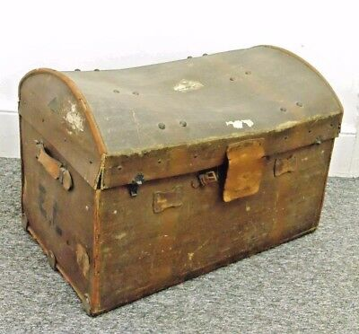 Vintage Leather Canvas Dome Top Steamer Trunk Art Deco Prop Railway Luggage