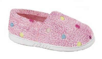 Childs Girls Slippers Zedzzz MOLLY Textile Pink Towelling Multi Spot