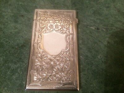 Antique Victorian Sterling Silver Calling Card Case - George Unite - B'ham 1880