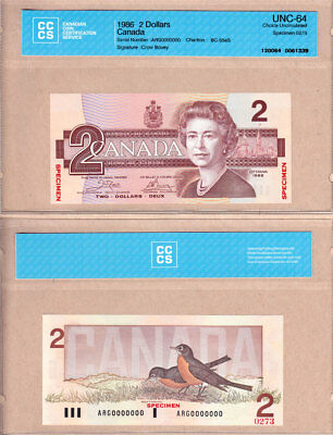 NO RESERVE AUCTION: 1986 $2 Bank of Canada Bird Series SPECIMEN, CCCS CH UNC64